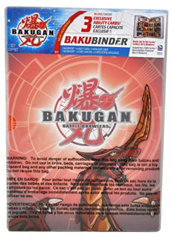 Cartoon Network TV Series Bakugan Battle Brawler Cards Holder - Pyrus Red BAKUBINDER with 4 Ability Cards (3 Exclusive) and 4 Metal Gate Cards (Binder Holds up to 96 Cards) by Bakugan