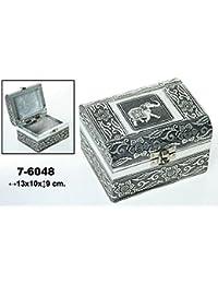 DonRegaloWeb - Caja - Joyero de metal rectangular con forma de baúl con cierre decorado con elefante y flores en color plateado