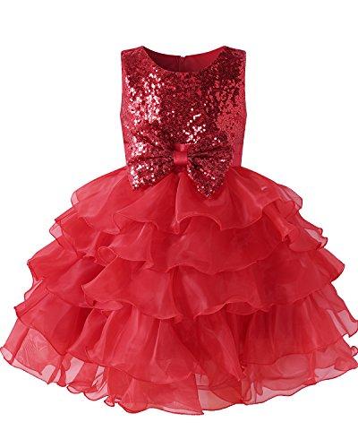 leid Blumenmädchen Prinzessin Kleid Babykleid Mädchen Party Kleider HochzeitKleid Rot 140CM (Kleider Für Partys Für Mädchen)