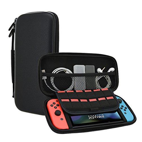 POPHEKO Tasche für Nintendo Switch – Tragbare PU-Hartschalen-Schutzhülle Hüllen/ Case für Nintendo Switch Spielkonsole und Zubehör – Für 12 Spiel-Cartridges – Keine schlechten Gerüche (Tasche Gepolsterte Samt)