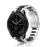 Fintie Armband für Galaxy Watch 42mm / Galaxy Watch Active 40mm / Gear Sport/Gear S2 Classic - Edelstahl Metall Uhrenarmband Ersatzband mit Doppelt Faltschließe (Silber/Schwarz)