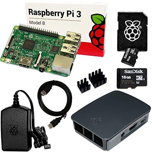 Hdmi-kühlkörper (Raspberry Pi 3 Set mit 16 GB SanDisk SD, HDMI, original Netzteil und Gehäuse, Kühlkörper (schwarz))