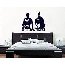 """Batman y Superman personajes héroes de acción de superhéroes de pared adhesivo ---Hecho por """"STICKINGTOIT"""" ---Ideal para el dormitorio de los niños/guardería/sala de estar - Foto arte ------ Colores disponibles (si otro color comprueba el color tabla y mensaje nosotros enseguida con su elección que), vinilo, negro, 69 wide x 56 high cms"""