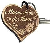 """Schlüsselanhänger """"Mama, du bist die Beste"""" sehr gute Qualität Muttertag Geschenk mit Käfer aus Holz Gravur vom ORIGINAL endlosschenken"""
