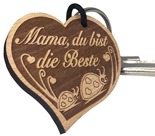 endlosschenken Schlüsselanhänger Geschenk Mama Herz mit Käfer Gravur Mama, du bist die Beste sehr gute Qualität