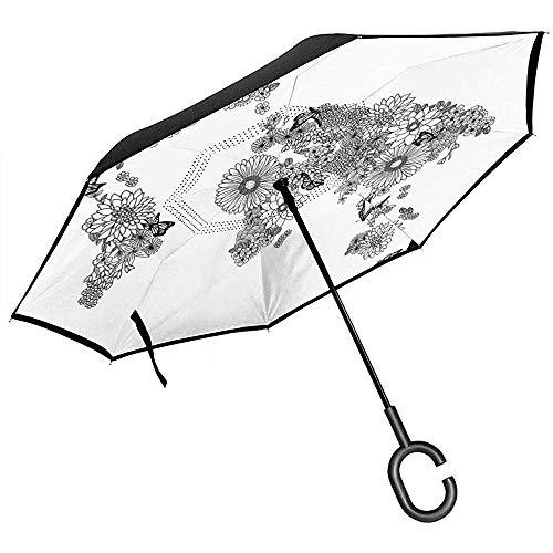 Französisches inspiriertes Muster-europäische Kultur-Zusammenfassungs-Weinlese-Renaissance-umgekehrter Regenschirm-Auto-Rückregenschirm -