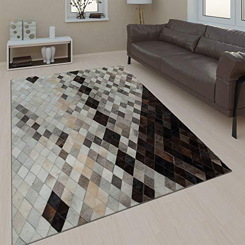 Paco Home Salon Tapis Cuir Laine Moderne Motif Losanges Carreaux Gris Noir Beige, Dimension:120x170 cm