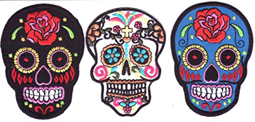 Toppa teschio Toppa cranio Toppa Termoadesiva Toppa Termoadesiva Per Stoffa 3 pezzi