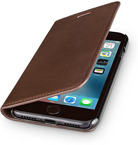 WIIUKA Echt Ledertasche -TRAVEL Nature- für Apple iPhone 6S und iPhone 6 -DEUTSCHES Leder- Vintage Braun, mit Kartenfach, extra Dünn, Tasche, Leder Hülle kompatibel mit iPhone 6/6S (Braun 6 Gesicht)