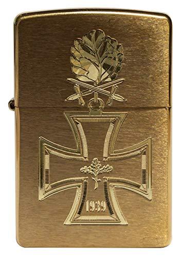 Zippo 18399 - Mechero con forma de cruz de caballero, 1939, con grabado de diamante de roble, latón cepillado, cepillado, edición limitada en todo el mundo, solo 1000 unidades, cromado