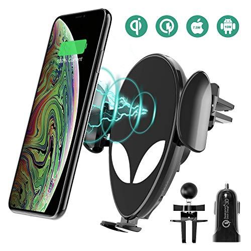 Handyhalterung Auto, Chesbung 2 in 1 Autohalterung/QI Ladegerät, schnurlos mit Schnellladefunktion und Soft-Touch-Sensor für iPhone, Samsung, Huawei, Google & LG Handys (Schwarz)