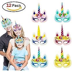 TrifyCore Máscara de Papel Arco Iris Unicornio Chico Regalo Fiesta de cumpleaños y Unicornio Fiesta 12 Piezas