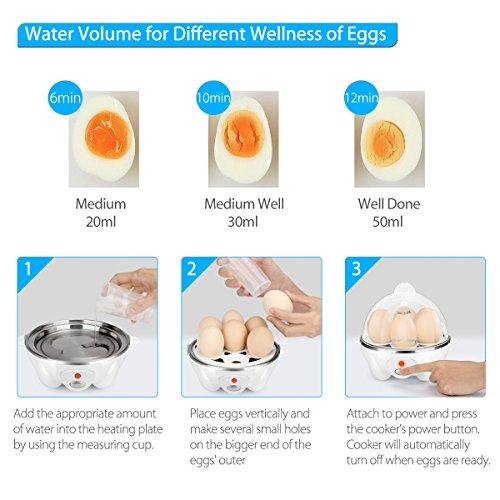Simpletaste moderno hervidor de huevos eléctrico  cocedor con capacidad para 7 huevos  blanco