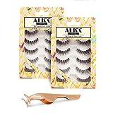 ALICE False Eyelashes 10 Pairs Natural Lashes with Free Eyelashes Tweezer