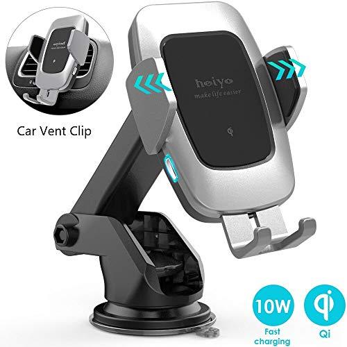 Caricatore Wireless Auto,10W Qi Rapida Caricabatterie & Auto Vento Supporto Telefono per Samsung S10/S10+/Nota 9/s9/s9+/s8/s8+/Note 8, 7.5w per iPhone 8/8+/X/XS/XS Max/XR,5w per Huawei Mate 20 PRO