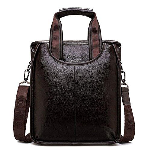 FULIER Herren Leder Cross Body Messenger Umhängetasche Handtaschen Büro Aktentasche Taschen (Braun) (Tote Pocket Side)