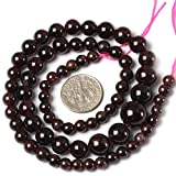 Sweet & Happy Girl'S Store 5-11mm round graduated gemstone natural garnet beads necklace strand 15 Inch
