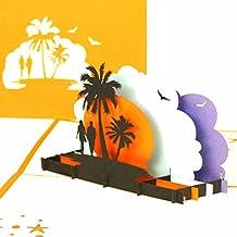 """3D Pop-Up Karte """"Love´s Beach Sunset"""" Verlobungskarte, Valentinskarte, Hochzeitskarte, Reisegutschein, Hotelgutschein, Hochzeitsreise"""