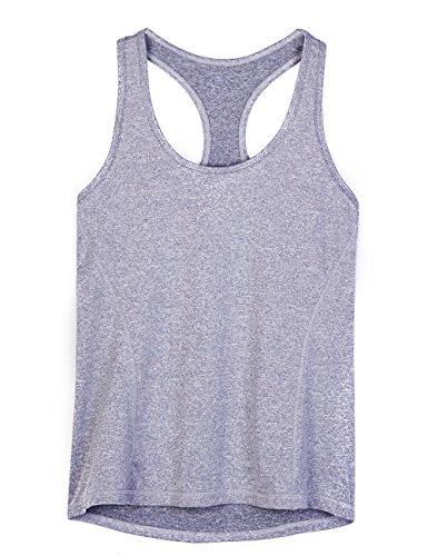 icyzone® Damen Funktions-Tanktop Sporttop Unterhemd Stretch fuer Yoga Fittness training Damen Tanktop Racerback ,Granite Heather,S -
