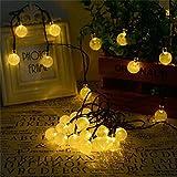 Batterie Lichterkette, MEIbax 6.5M 30 LEDs Warm Weiß Globe Außen Lichterkette Batterienbetriebene Lampions Laterne Lichterketten für Party Weihnachten Outdoor Fest Deko usw (Gelb)