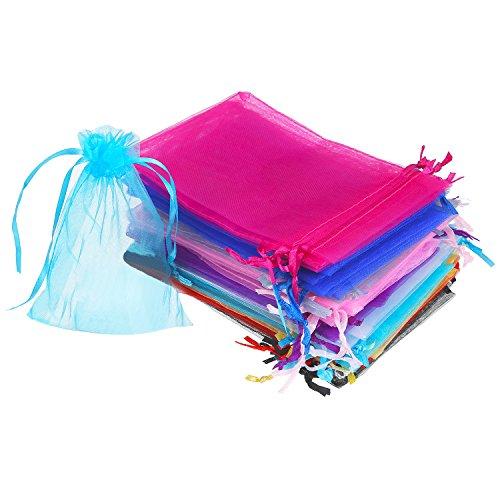 50 pezzi 4 per 6 pollice sacchetti di regalo in organza buste gioielli coulisse sacchettini di matrimonio festa favore (multicolore)