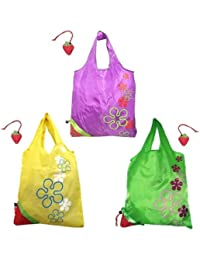 Wrapables Reusable Folded Into A Strawberry Shopping Tote Bag, Purple/Green/Yellow, Set Of 3