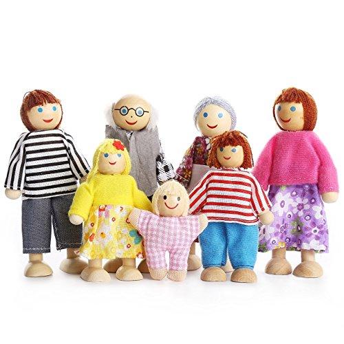 RAILONCH Puppenfamilie Holzpuppen für Puppenhaus Kinderspielzeug Geschenk Souvenirs 7 ()
