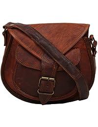 """Handcraft's """"Charlotte"""" Designer Genuine Leather Women's Brown Sling Bag Hand Bag"""