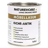 NATUREHOME Dünnschicht Innenlasur für Holzmöbel 750ml – natürliche Bio Möbellasur - Farbe Eiche Antik