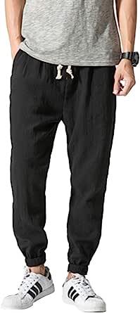 VANVENE Mens Line Trousers Yoga Pants Cotton Lightweight Loose Beach Yoga Wide Leg Pants Trousers