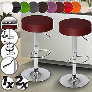 MIADOMODO Barhocker mit Fußablage - aus Kunstleder, um 360° drehbar und höhenverstellbar - in verschiedenen Farben & Setwahl - Barsessel Barstuhl Esszimmer Möbel (Rotwein, 2er)