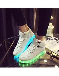 Tall Bootie USB Charging LED Chaussures Fluorescentes Chaussures Couple Chaussures Plateaux Chaussures de Danse Snekers 2017 Automne et Hiver New Eu Taille 34-45