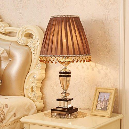 K9 Kristall Schreibtischlampe, schwarz Kristall Zubehör, braun Kristall Anhänger, dimmbar, Schlafzimmer Wohnzimmer Stoff Lampenschirm Tischlampe (größe : L) -