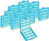 com-four 12x Batteriebox aus Kunststoff - Aufbewahrungsbox für Batterien und Akkus - Akkubox für AA und AAA (12 Stück - Blau)