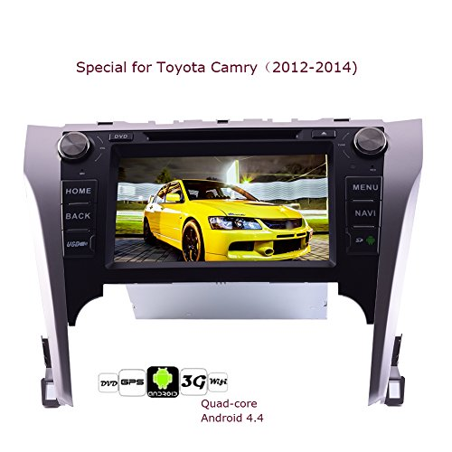 8Inch Auto-DVD-Special f¨¹r Toyota Camry (2012-2014) mit Quad-Core-Android 4.4system Car Stereo 16G ROM 1.6GHz Prozessor 3D-GPS-Navigationskarte Headunit FM AM RDS Radio-Empf?nger Bluetooth Spiegel Link-Wifi / 3G Hotspot 1080P Video Player + Free CANBUS (Gps Für Camry 2014)