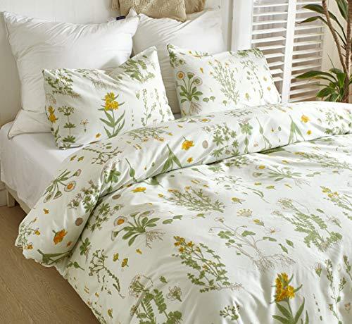 Wondder 2/3-teiliges Bettbezug-Set aus weichem atmungsaktivem Polyester mit Blumenmuster bedrucktem Tröster-Set mit Reißverschluss, Polyester, Stil 3, King Size (Männer King-size-tröster-sets)