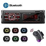 Autoradio Bluetooth, Stereo Auto Bluetooth Ricevitore, QINFOX 1-DIN Auto Lettore MP3, Autoradio MP3 Stereo 7 Colori LCD Autoradio Lettore con Bluetooth/USB/EQ/SD/AUX/FM con Telecomando sul volante