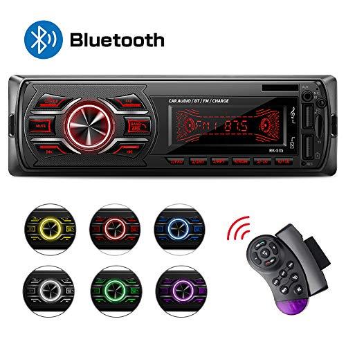 Autoradio Bluetooth, Stereo Auto Bluetooth Ricevitore, QINFOX 1-DIN Auto Lettore MP3, Autoradio MP3 Stereo 7 Colori LCD Autoradio Lettore con Bluetooth/USB/EQ/SD/AUX/FM con Telecomando sul volant