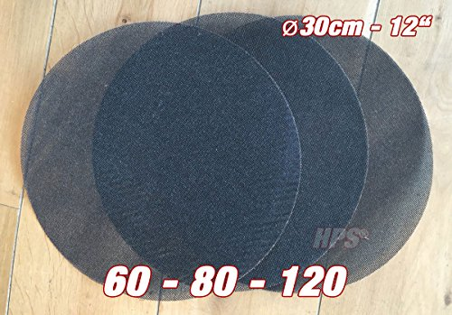 HPS® 3Stück Schleifnetz - Schleiffolge 60-80-120 Schleifnetz - Ø 30cm - Schleifnetz für Einscheibenmaschine zb Floorboy xl 300 - Schleifen von Lack-Holz usw.