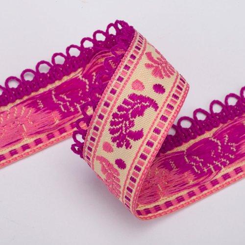 Neotrims Bänder mit Dekor A Federn, Breite: 2,5cm, Stil Art Nouveau, Motiv Jacquard, ideal für Dekorationen und Aktivitäten Creative, 6Farben -