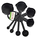 Floraware Plastic Measuring Cups and Spoons, 8-Pieces, Black