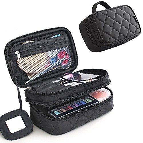 MLMSY Make-up-Tasche Make-up Pinsel Tasche Organizer Kosmetik Handtasche Schwarz Professionelle tragbare Double Layer Travel Wash Toilettenartikel Aufbewahrungsbox (Schwarz) (Make-up Handtasche)