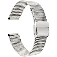 Para Huawei Watch 1st Gen Band, TRUMiRR 18mm Milanese tejido reloj banda de acero mejorado Correa para muñeca Correa para Huawei Fit, LG Watch Style, Asus Zenwatch 2 Women 1.45''WI502Q, Withings Activite/Pop/Sapphire/Steel HR 36mm