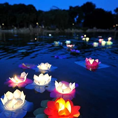 50x FLOWER lotus chinese lanterns wishing floating water light paper Multi Color (green) by kwanchan