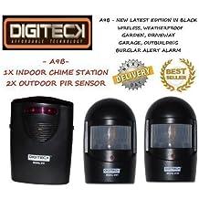 Detector de Movimiento Impermeable Color Negro - Alarma Anti Ladrones o Alerta de Visitantes - Para