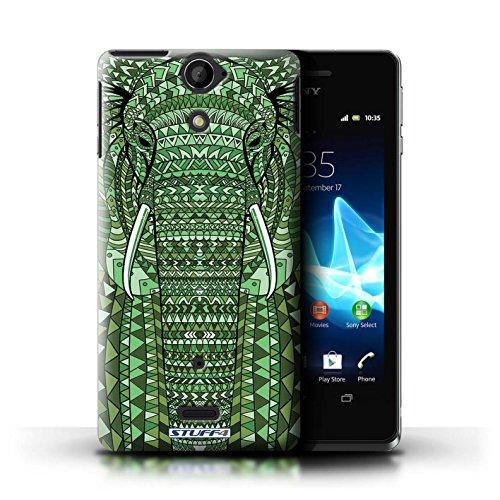 Kobalt® Imprimé Etui / Coque pour Sony Xperia V/LT25i / Loup-Couleur conception / Série Motif Animaux Aztec éléphant-Vert