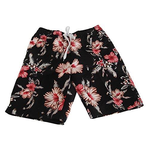 Soulstar Herren Hawaii Floral Muster Lange Board Shorts Schwarz