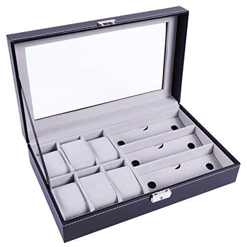 Meshela Uhrenbox & Brillenbox mit Schaufenster aus Glas für Aufbewahrung und Präsentation von 6 Uhren & 3 Brillen Sonnenbrillen (Schwarz)