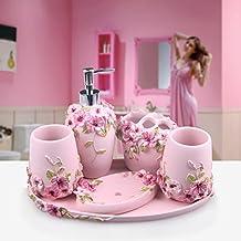 HJKY Badezimmerzubehör Set im europäischen Stil Badezimmer fünfteiligen Knochen Porzellan waschen Anzug einfach Mundwasser Tasse Zahnbürste Halter Waschflasche flüssige Seifenkiste, romantische Herrenhaus rosa runden Tablett