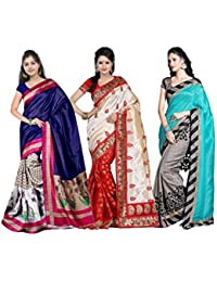 Ambe Saree Women's Art Silk Saree With Blouse Piece Ofs_248_Assorted_Free Size